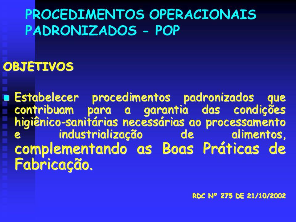 PROCEDIMENTOS OPERACIONAIS PADRONIZADOS - POP