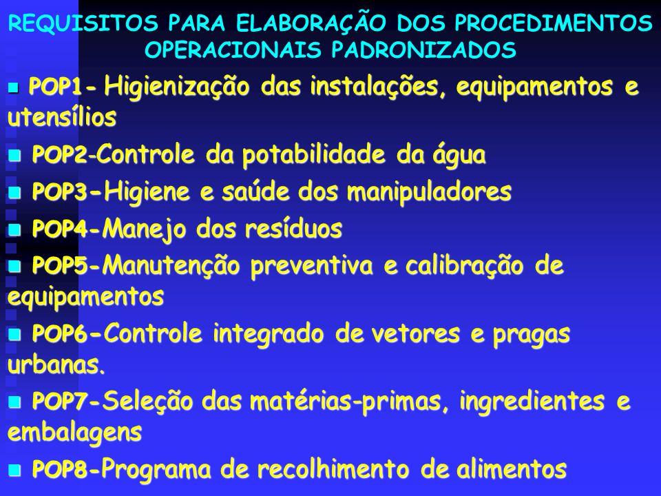 REQUISITOS PARA ELABORAÇÃO DOS PROCEDIMENTOS OPERACIONAIS PADRONIZADOS