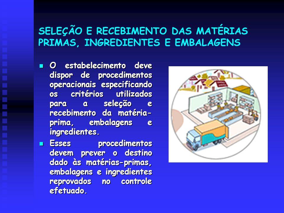SELEÇÃO E RECEBIMENTO DAS MATÉRIAS PRIMAS, INGREDIENTES E EMBALAGENS