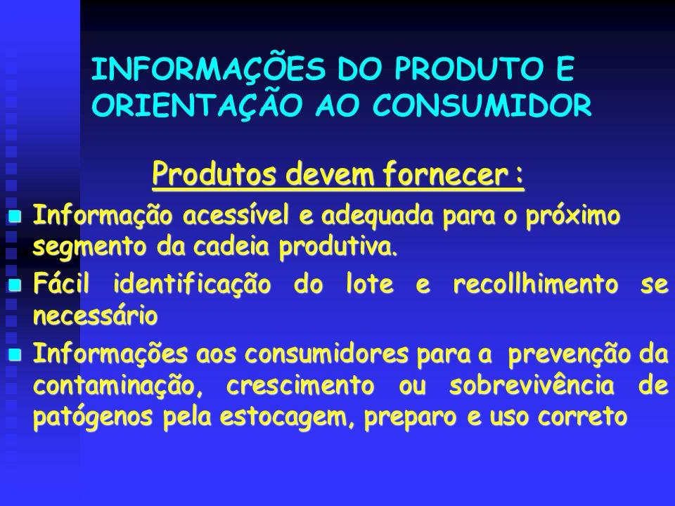 INFORMAÇÕES DO PRODUTO E ORIENTAÇÃO AO CONSUMIDOR