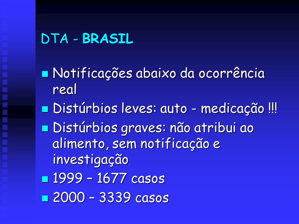 DTA - BRASILNotificações abaixo da ocorrência real. Distúrbios leves: auto - medicação !!!