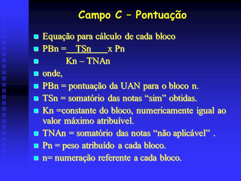 Campo C – Pontuação Equação para cálculo de cada bloco PBn = TSn x Pn