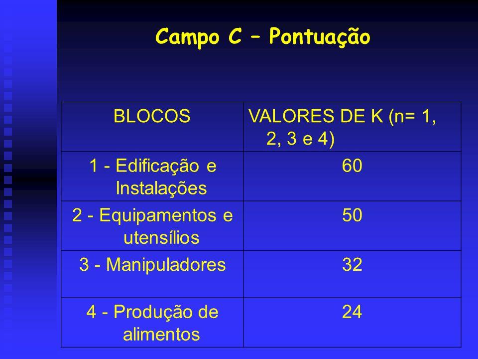 Campo C – Pontuação BLOCOS VALORES DE K (n= 1, 2, 3 e 4)