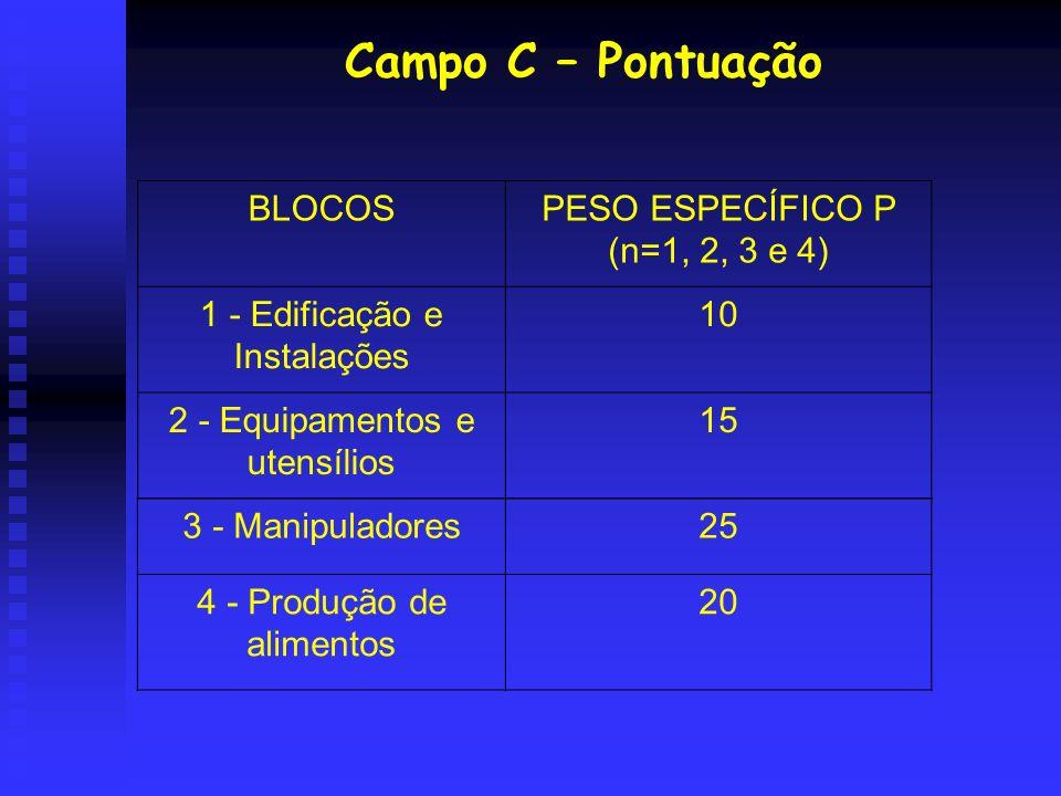 Campo C – Pontuação BLOCOS PESO ESPECÍFICO P (n=1, 2, 3 e 4)