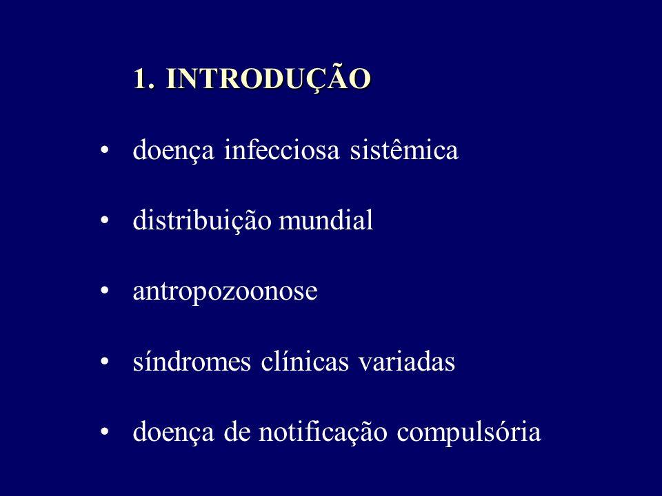 INTRODUÇÃO doença infecciosa sistêmica. distribuição mundial. antropozoonose. síndromes clínicas variadas.
