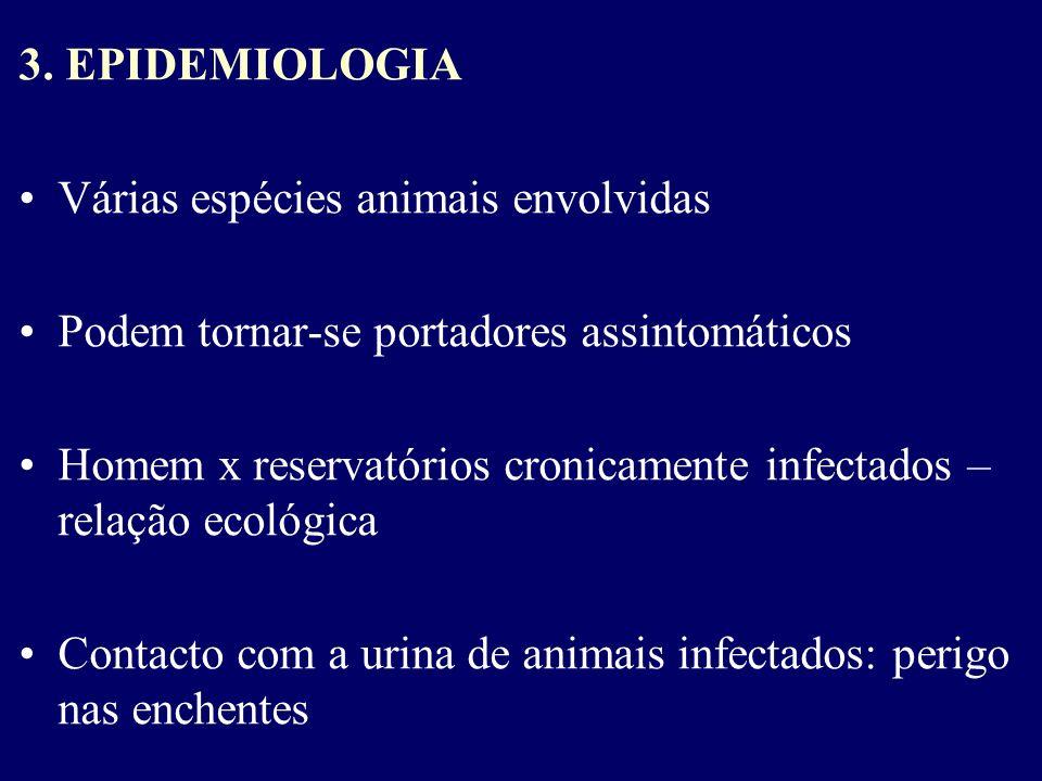 3. EPIDEMIOLOGIA Várias espécies animais envolvidas. Podem tornar-se portadores assintomáticos.