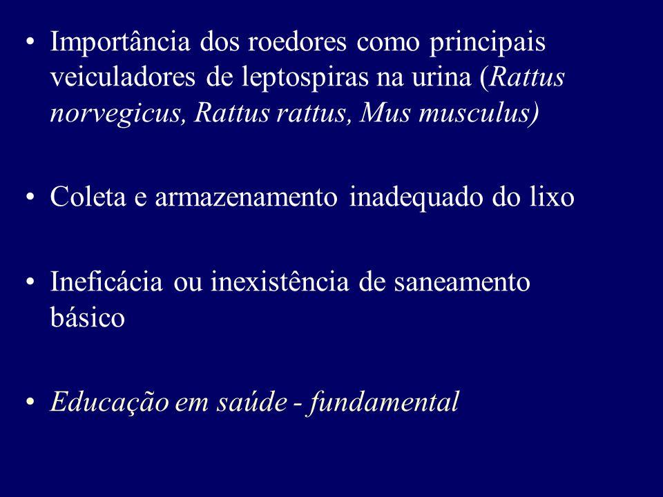 Importância dos roedores como principais veiculadores de leptospiras na urina (Rattus norvegicus, Rattus rattus, Mus musculus)