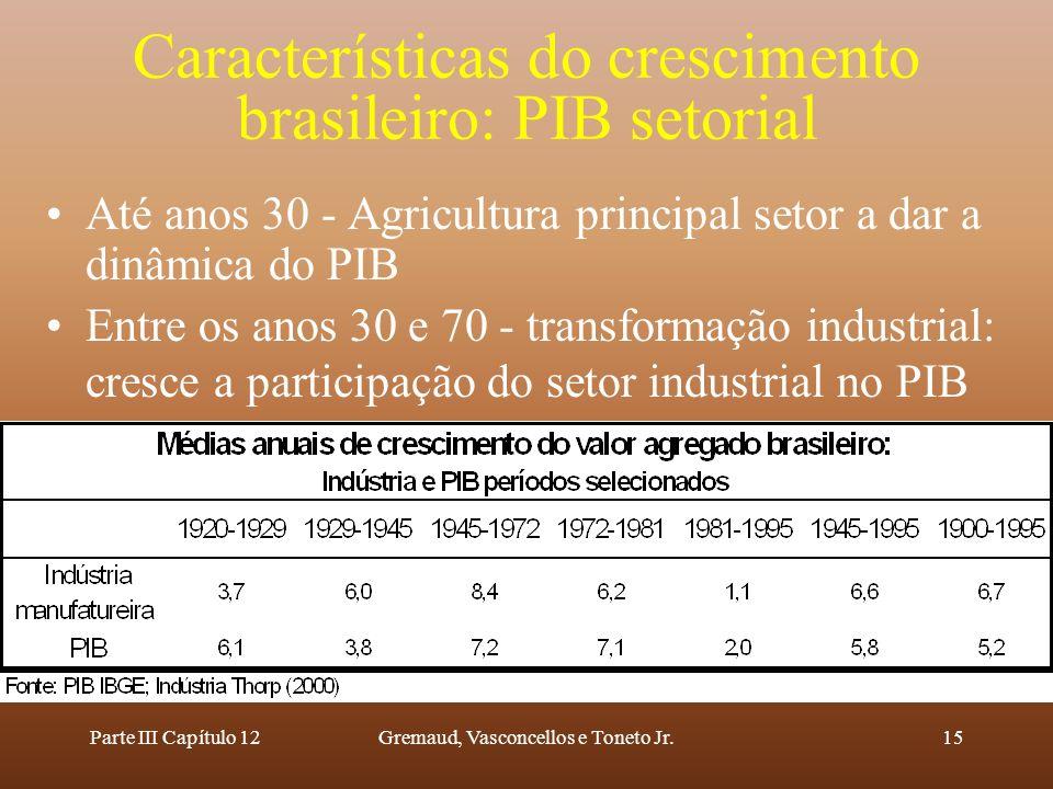 Características do crescimento brasileiro: PIB setorial