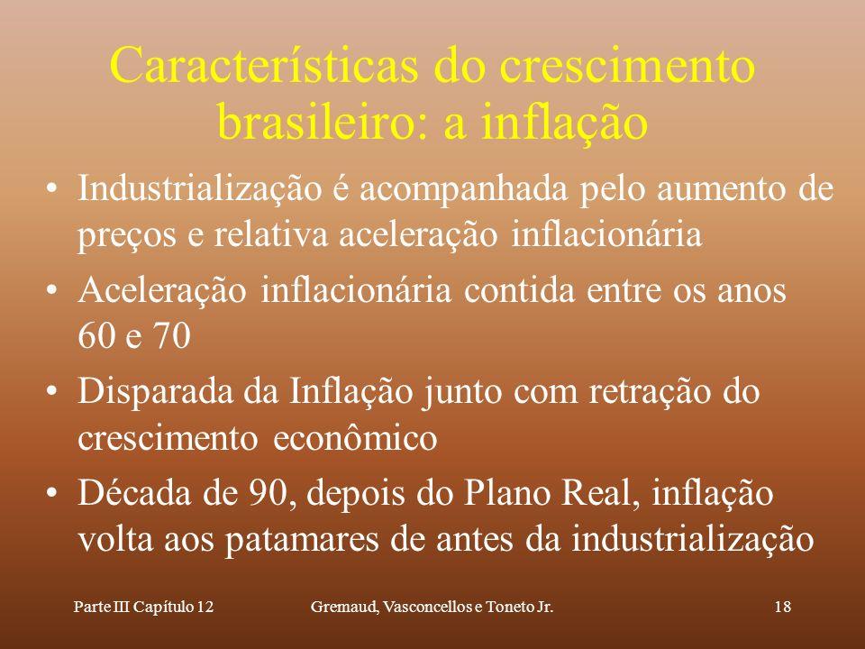 Características do crescimento brasileiro: a inflação