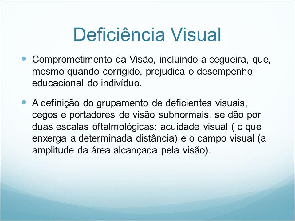 Deficiência Visual Comprometimento da Visão, incluindo a cegueira, que, mesmo quando corrigido, prejudica o desempenho educacional do indivíduo.