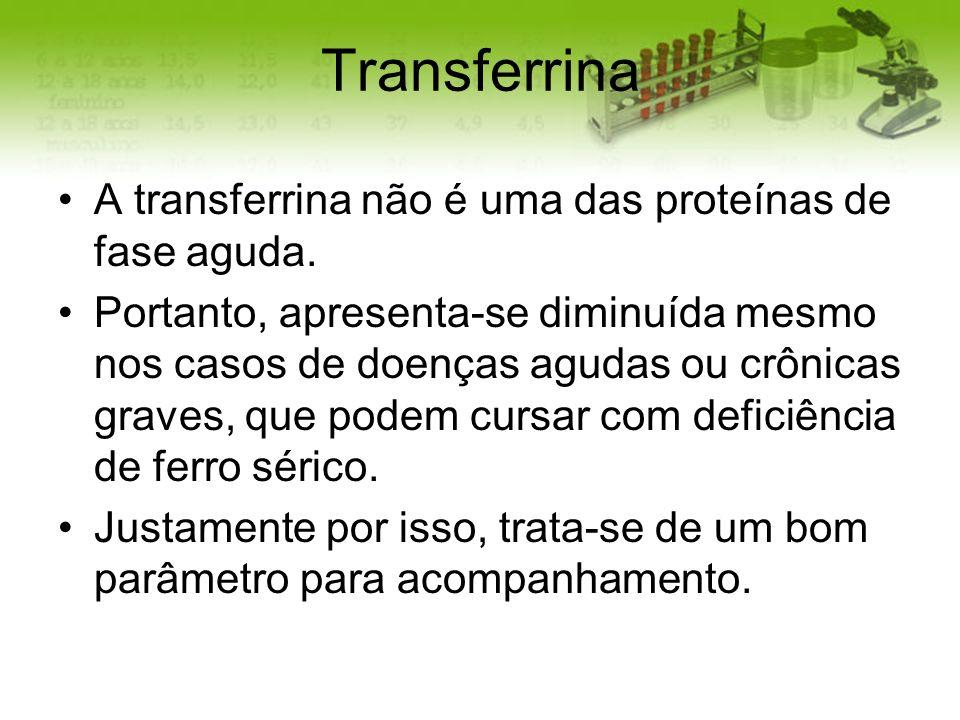 Transferrina A transferrina não é uma das proteínas de fase aguda.