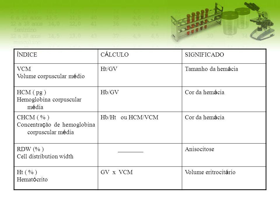 ÍNDICECÁLCULO. SIGNIFICADO. VCM. Volume corpuscular médio. Ht/GV. Tamanho da hemácia. HCM ( pg ) Hemoglobina corpuscular média.