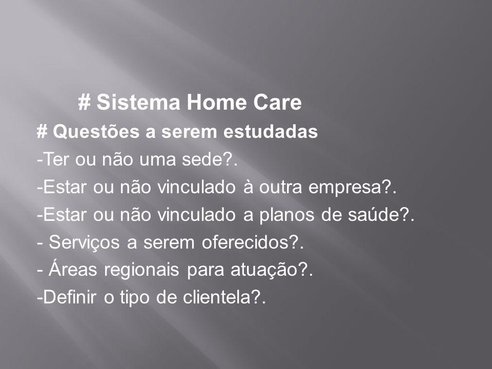 # Sistema Home Care # Questões a serem estudadas