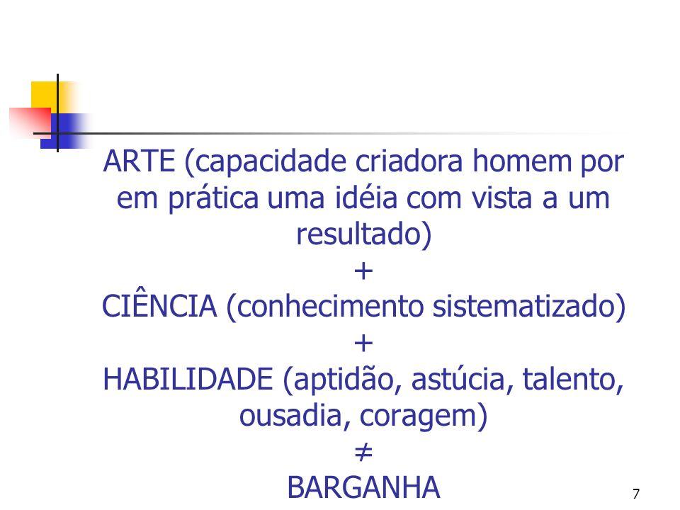 ARTE (capacidade criadora homem por em prática uma idéia com vista a um resultado) + CIÊNCIA (conhecimento sistematizado) + HABILIDADE (aptidão, astúcia, talento, ousadia, coragem) ≠ BARGANHA