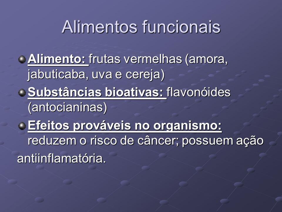 Alimentos funcionais Alimento: frutas vermelhas (amora, jabuticaba, uva e cereja) Substâncias bioativas: flavonóides (antocianinas)