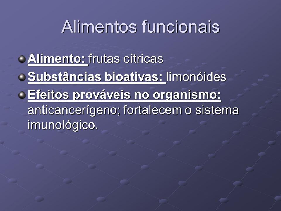 Alimentos funcionais Alimento: frutas cítricas