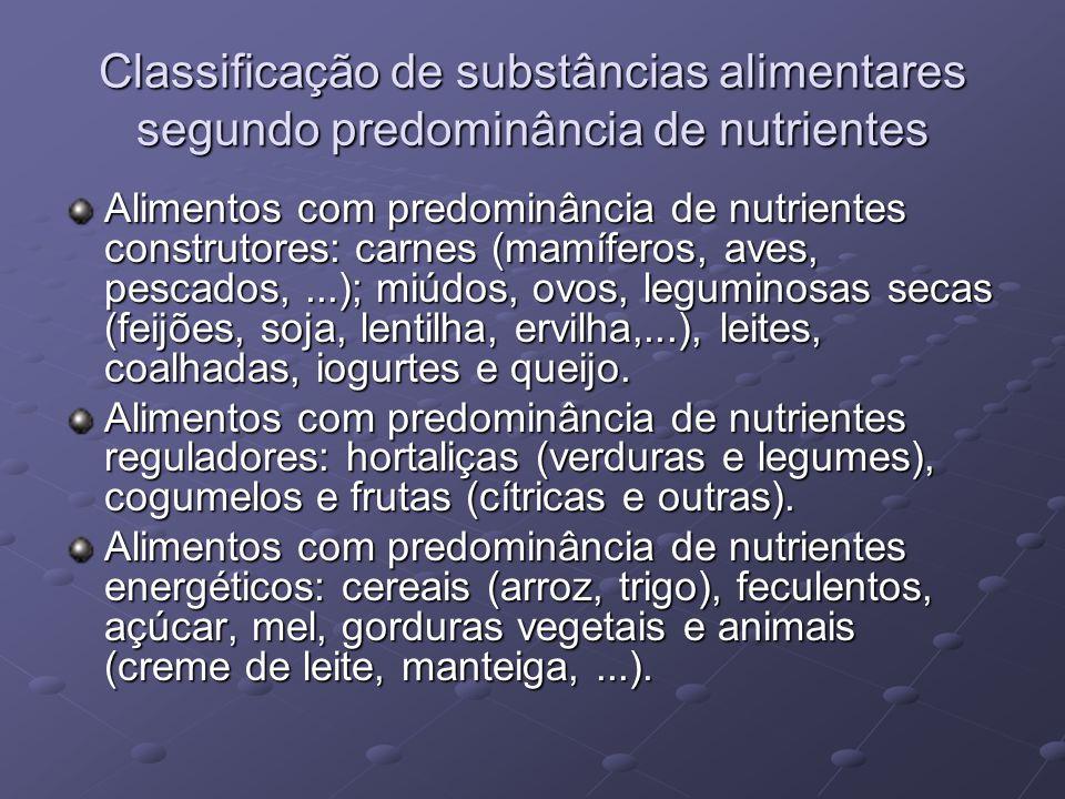 Classificação de substâncias alimentares segundo predominância de nutrientes