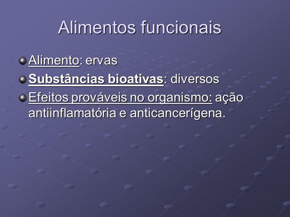 Alimentos funcionais Alimento: ervas Substâncias bioativas: diversos