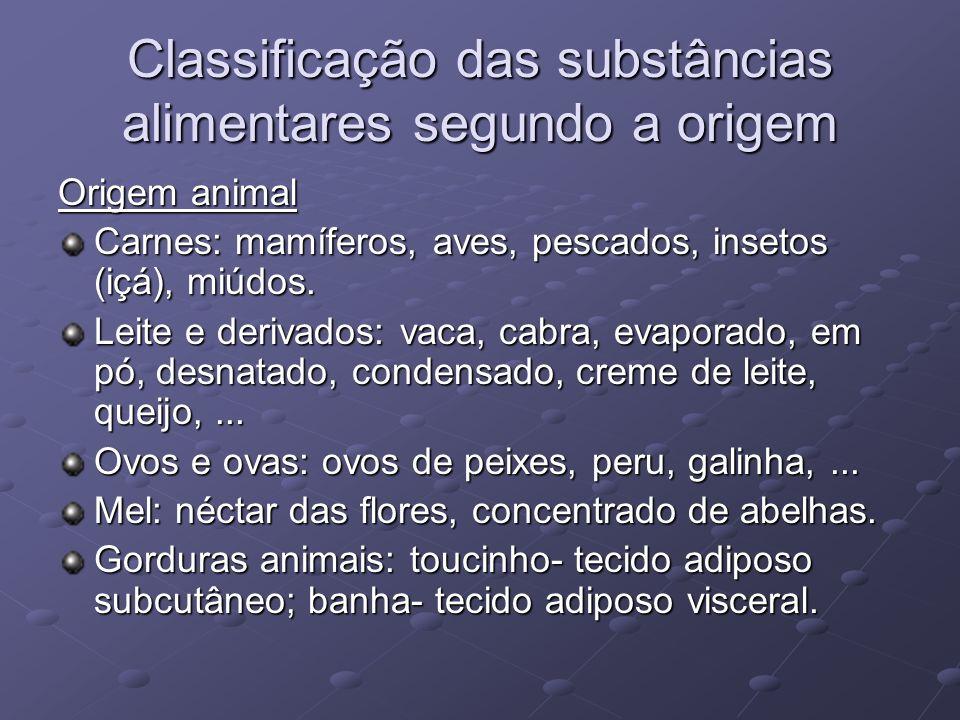 Classificação das substâncias alimentares segundo a origem