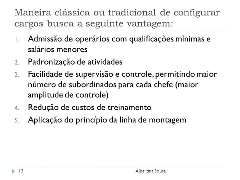 Maneira clássica ou tradicional de configurar cargos busca a seguinte vantagem: