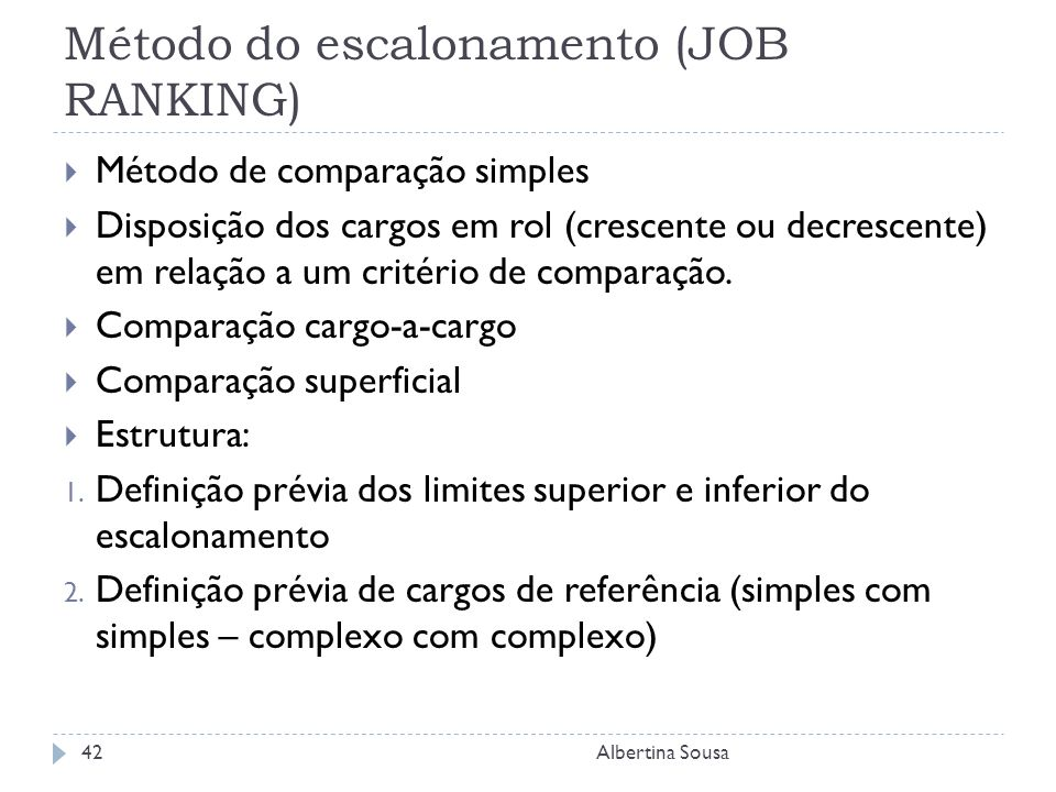 Método do escalonamento (JOB RANKING)