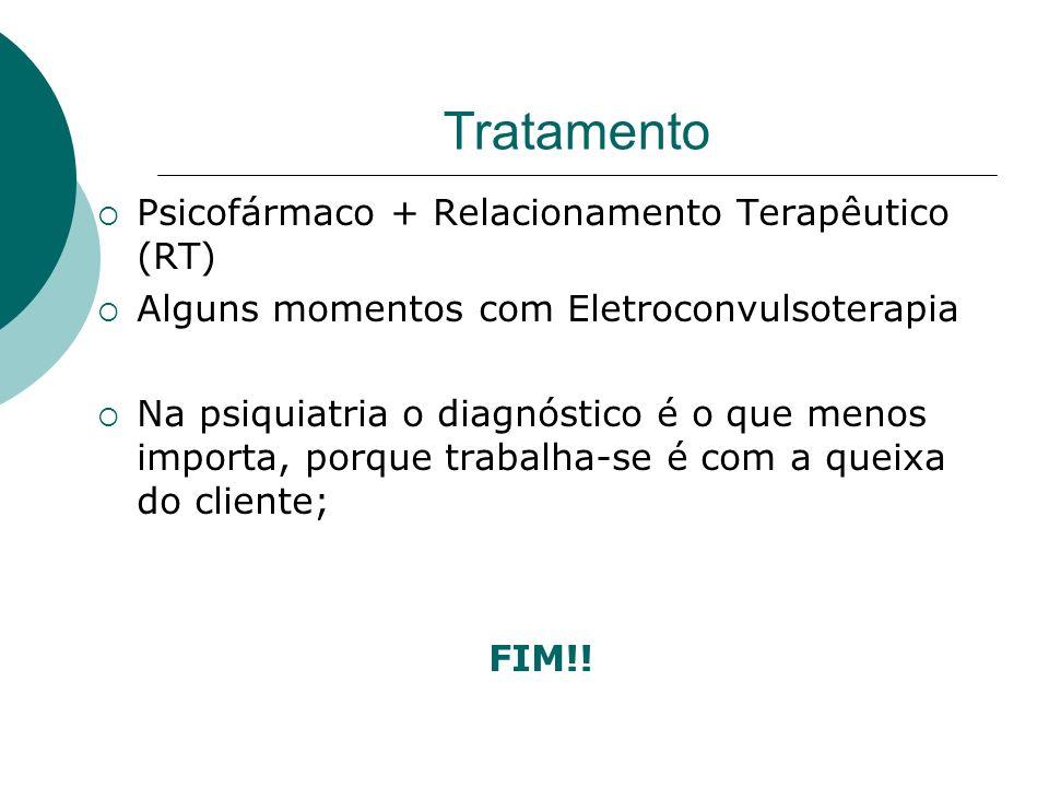 Tratamento Psicofármaco + Relacionamento Terapêutico (RT)