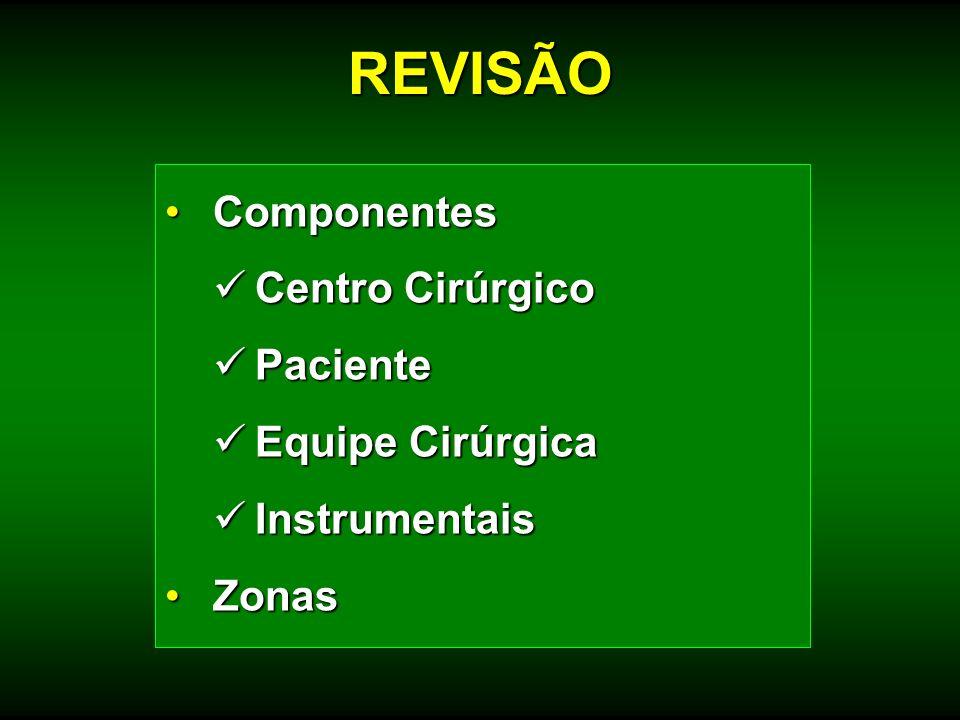 REVISÃO Componentes Centro Cirúrgico Paciente Equipe Cirúrgica