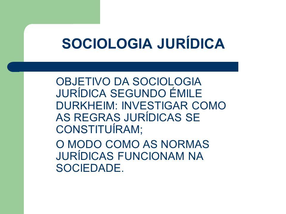 SOCIOLOGIA JURÍDICA OBJETIVO DA SOCIOLOGIA JURÍDICA SEGUNDO ÉMILE DURKHEIM: INVESTIGAR COMO AS REGRAS JURÍDICAS SE CONSTITUÍRAM;