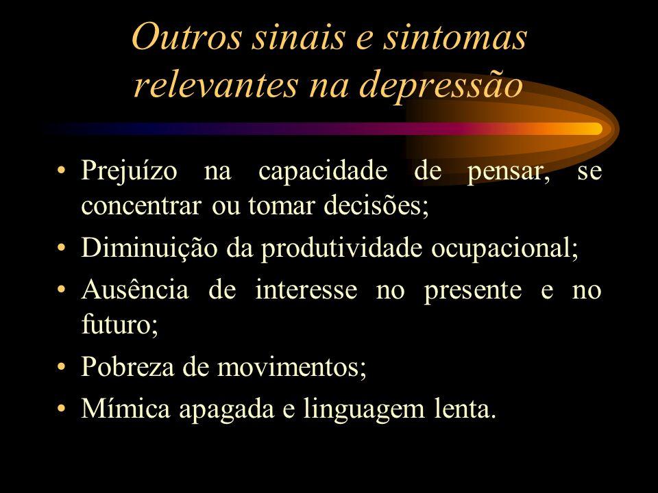 Outros sinais e sintomas relevantes na depressão