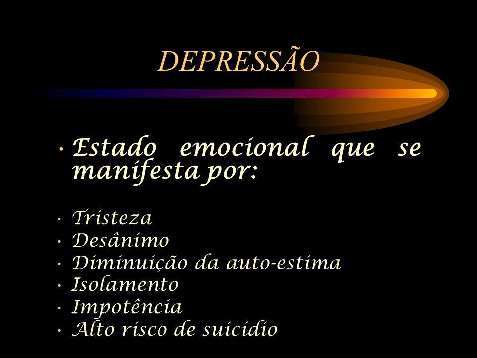 DEPRESSÃO Estado emocional que se manifesta por: Tristeza Desânimo