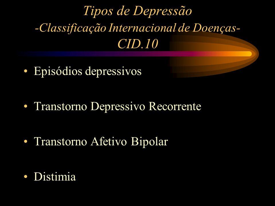 Tipos de Depressão -Classificação Internacional de Doenças- CID.10