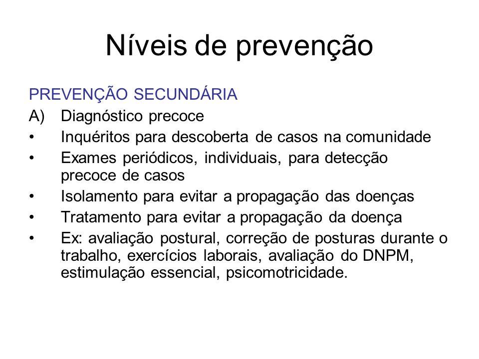 Níveis de prevenção PREVENÇÃO SECUNDÁRIA Diagnóstico precoce