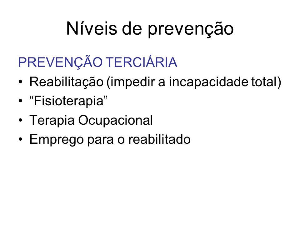 Níveis de prevenção PREVENÇÃO TERCIÁRIA