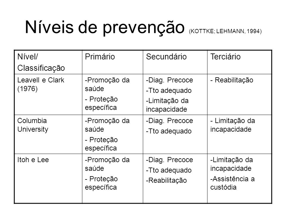 Níveis de prevenção (KOTTKE; LEHMANN, 1994)