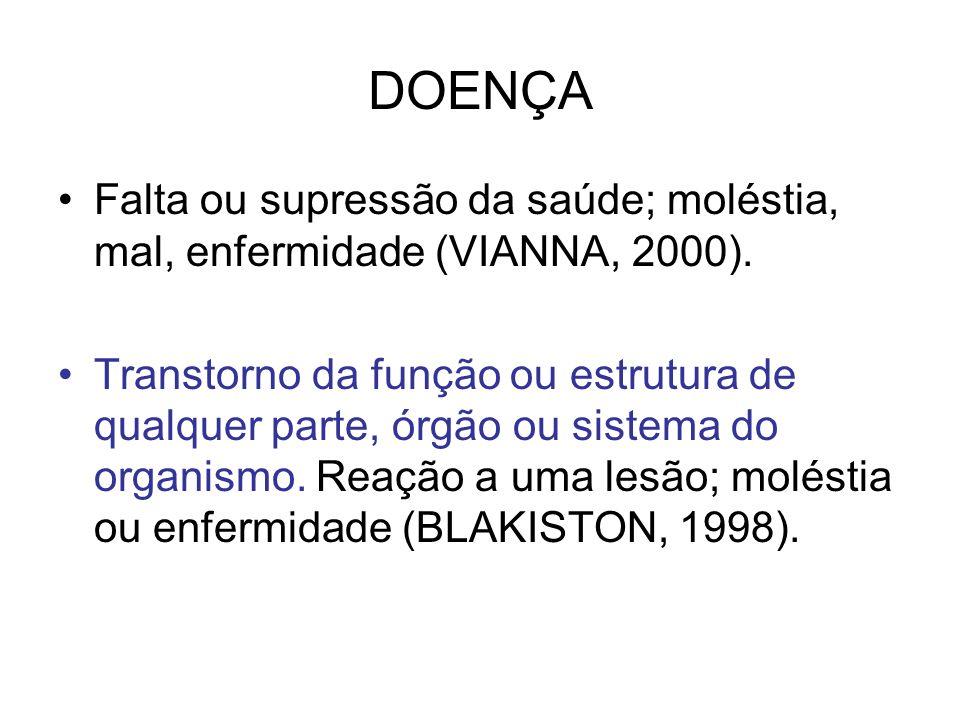 DOENÇAFalta ou supressão da saúde; moléstia, mal, enfermidade (VIANNA, 2000).