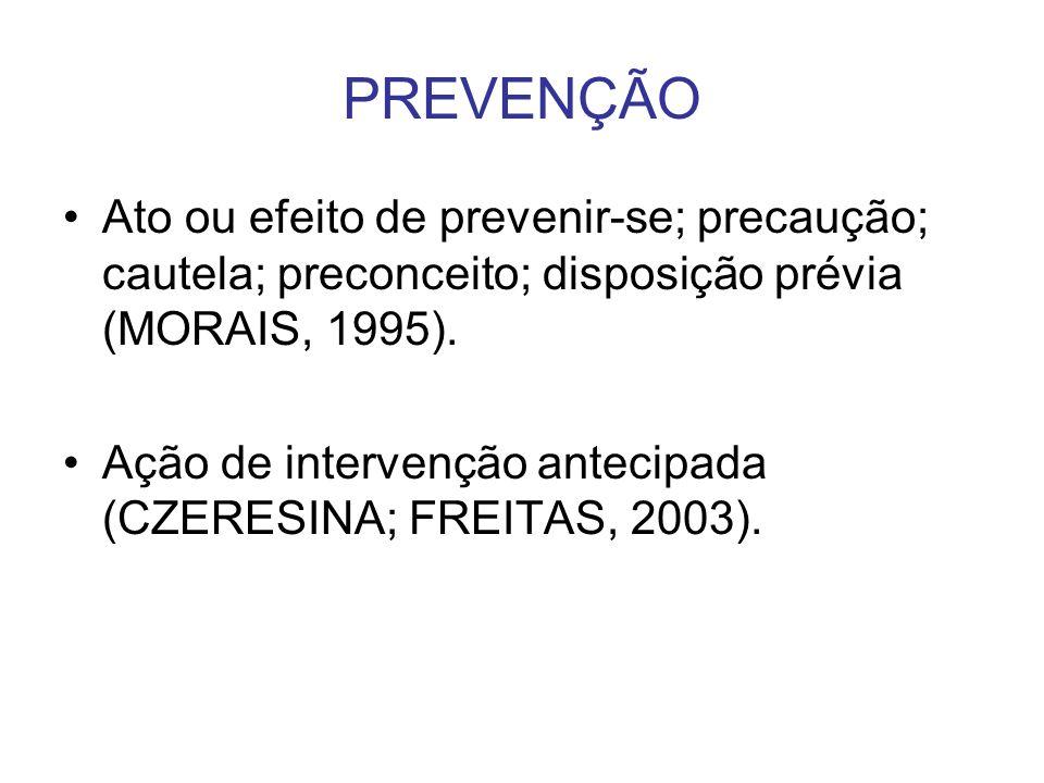 PREVENÇÃOAto ou efeito de prevenir-se; precaução; cautela; preconceito; disposição prévia (MORAIS, 1995).