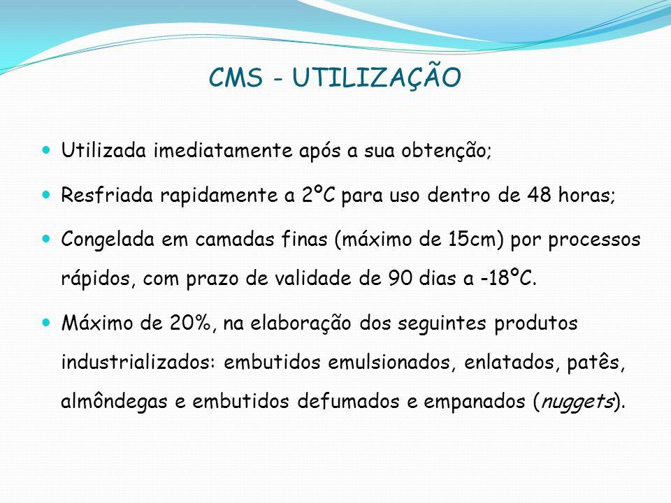 CMS - UTILIZAÇÃO Utilizada imediatamente após a sua obtenção;