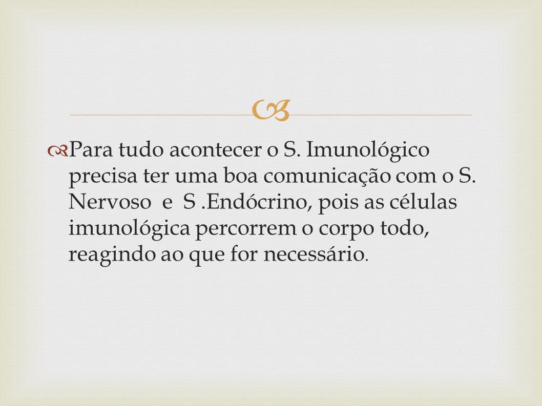 Para tudo acontecer o S. Imunológico precisa ter uma boa comunicação com o S.