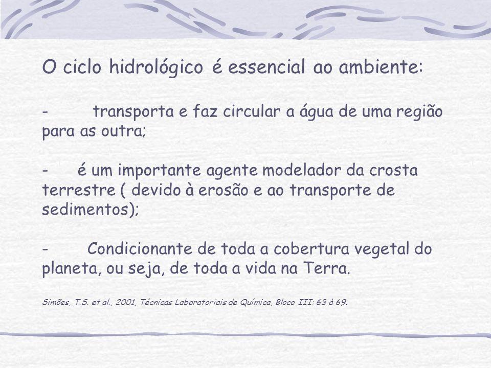 O ciclo hidrológico é essencial ao ambiente: