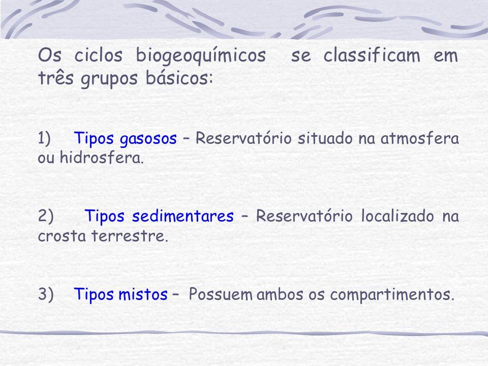 Os ciclos biogeoquímicos se classificam em três grupos básicos: