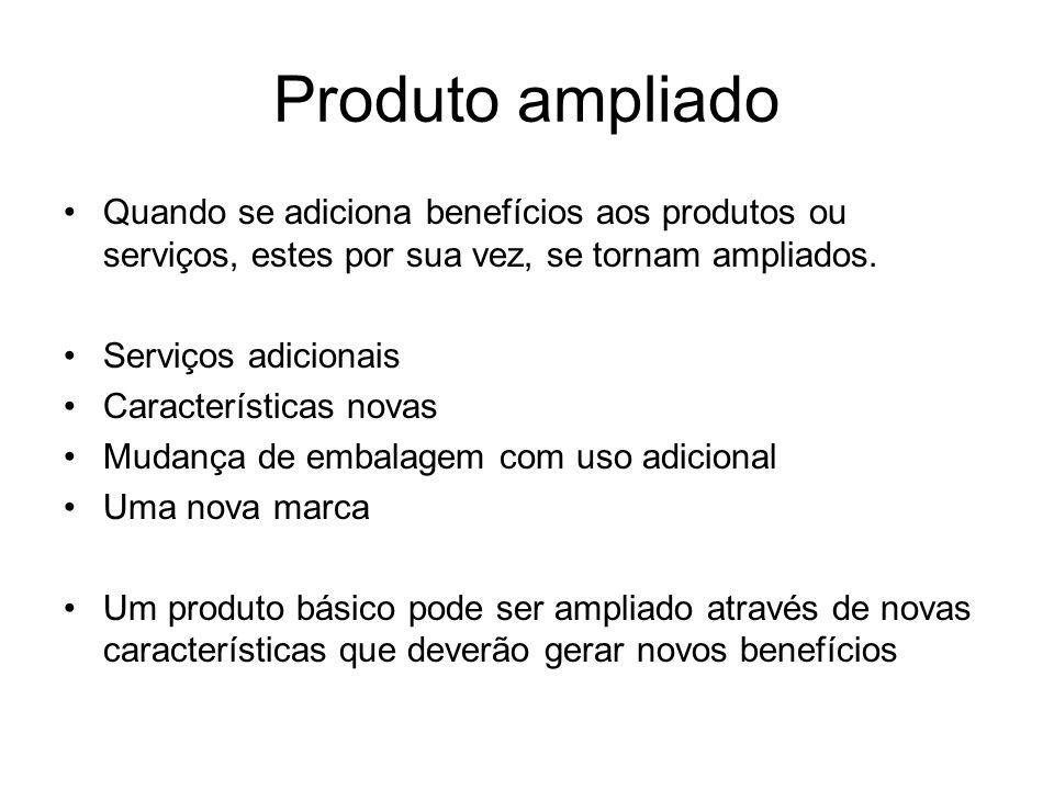 Produto ampliado Quando se adiciona benefícios aos produtos ou serviços, estes por sua vez, se tornam ampliados.