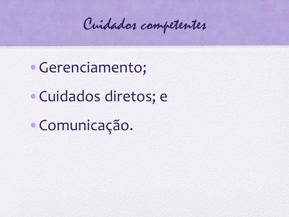 Cuidados competentes Gerenciamento; Cuidados diretos; e Comunicação.