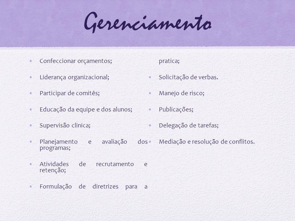 Gerenciamento Formulação de diretrizes para a pratica;