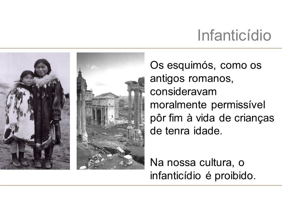 Infanticídio Os esquimós, como os antigos romanos, consideravam moralmente permissível pôr fim à vida de crianças de tenra idade.