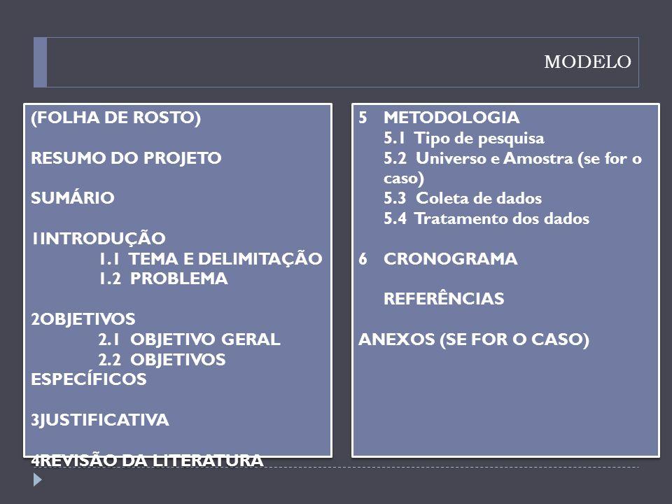 MODELO (FOLHA DE ROSTO) RESUMO DO PROJETO SUMÁRIO INTRODUÇÃO