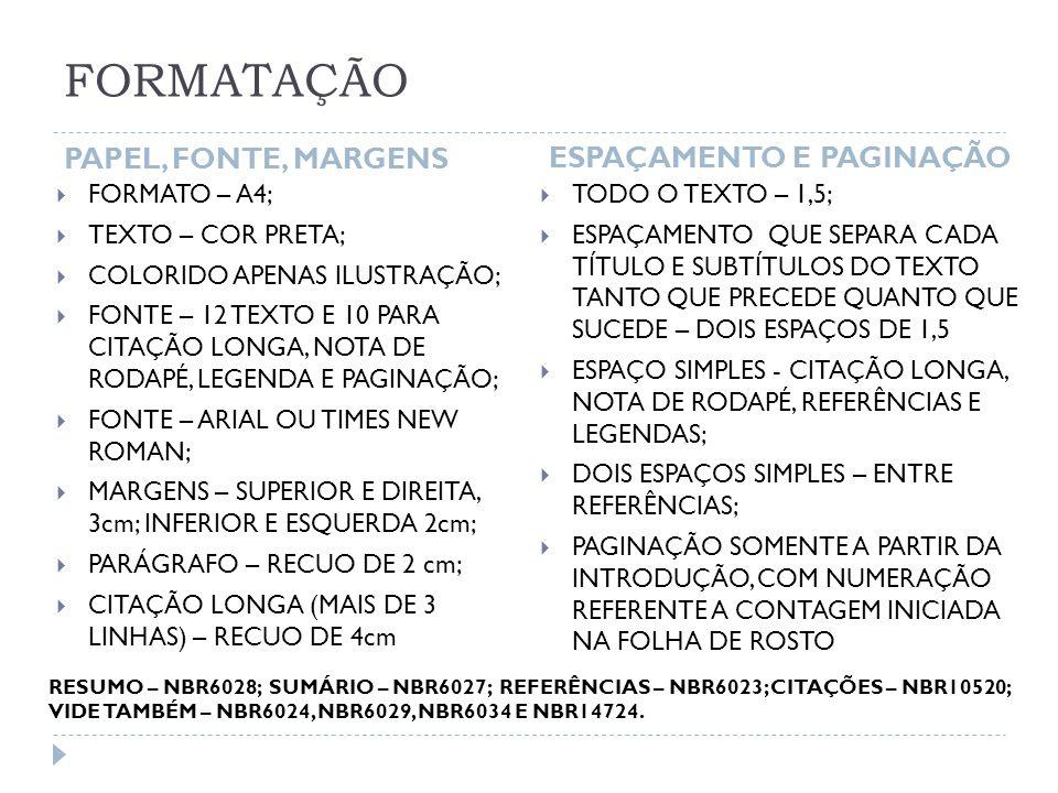 FORMATAÇÃO PAPEL, FONTE, MARGENS ESPAÇAMENTO E PAGINAÇÃO FORMATO – A4;