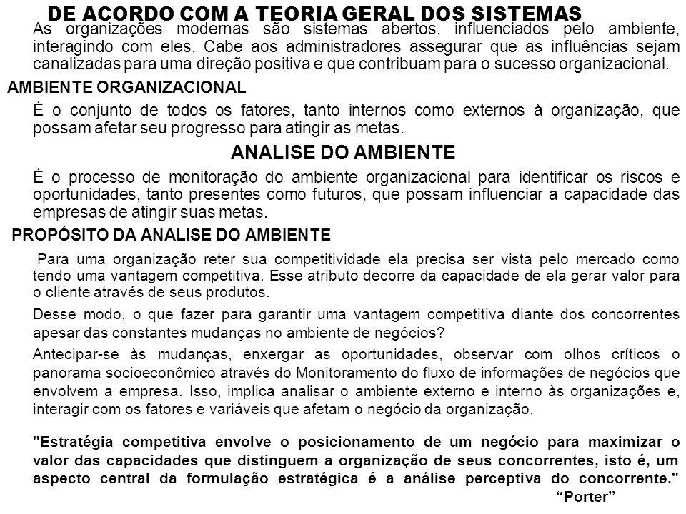 DE ACORDO COM A TEORIA GERAL DOS SISTEMAS
