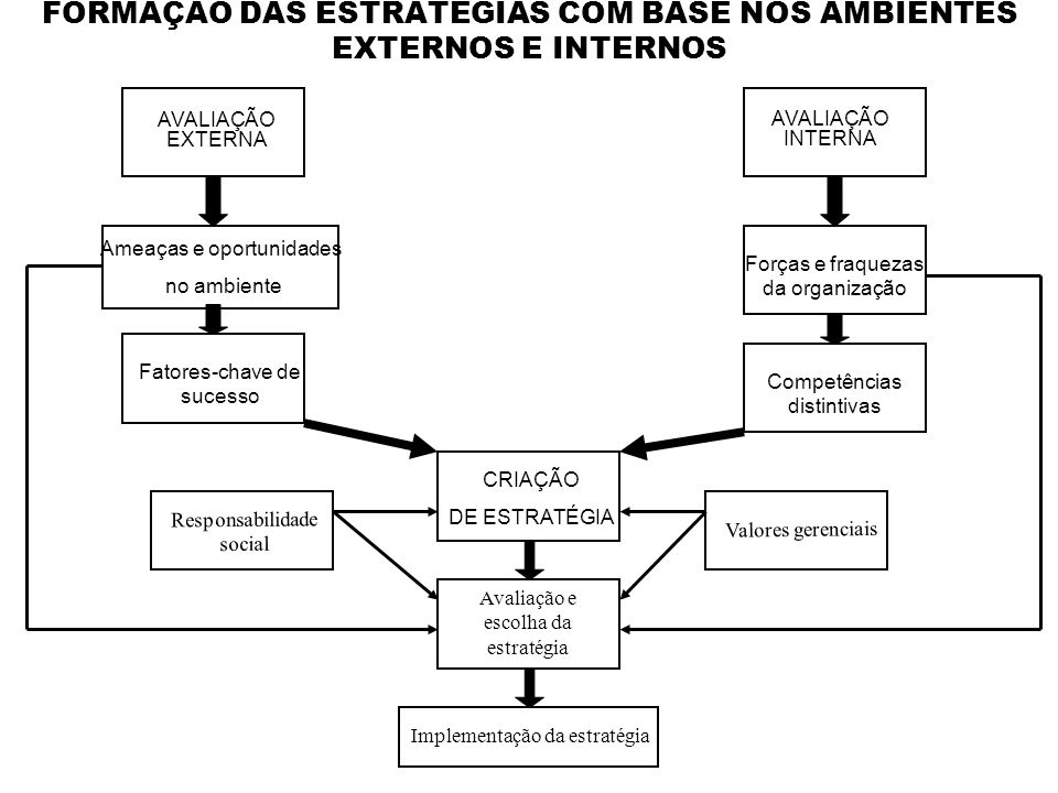 FORMAÇÃO DAS ESTRATÉGIAS COM BASE NOS AMBIENTES EXTERNOS E INTERNOS