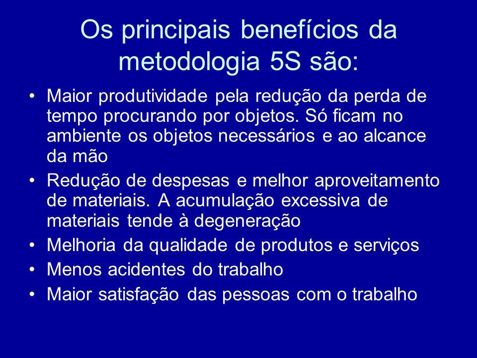 Os principais benefícios da metodologia 5S são: