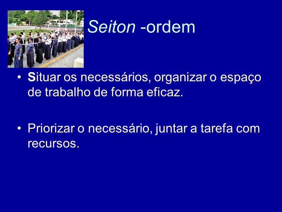 Seiton -ordemSituar os necessários, organizar o espaço de trabalho de forma eficaz.